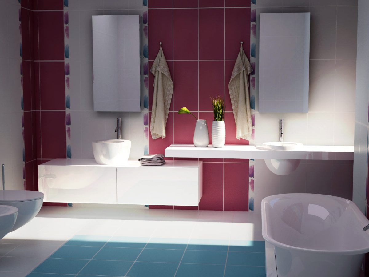 Visualization of the interior of a bathroom