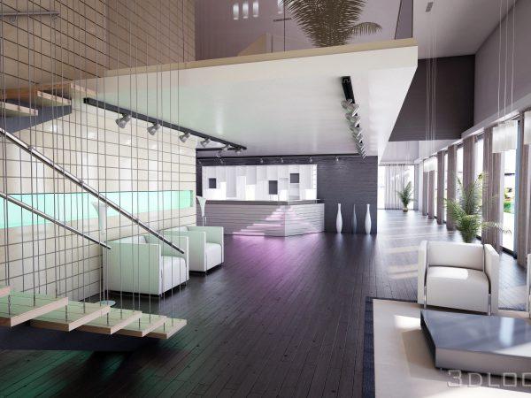 Визуализация на интериорен проект на lobby bar